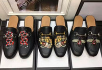tierisches leder großhandel-Heißer verkauf Männer faulenzer hausschuhe Luxus Marke rutscht Sommer Echtleder Scuffs sandalen