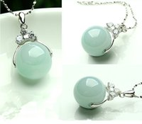 Wholesale S925 Jade Pendant - Jewelry Necklace Pendant Jade Pendant Chalcedony Necklace Genuine A Goods Natural Jade Pendant S925 Sterling Silver Necklace 13mm
