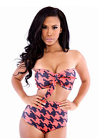 Wholesale Houndstooth Swimsuit - Wowforu Women Sexy 3pcs Strapless Houndstooth High-waisted Bikini Cover Up Swimsuit