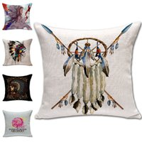Wholesale Indian Sofa Covers - Indian Skull Dreamcatcher Pillow Case Cushion cover Linen Cotton Throw Pillowcases sofa Bed Pillow covers Drop shipping PW432