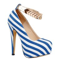 Zandina Womens Fashion 14.5cm High Heel Platform Stiletto Ankle Strap Buckle Pumps Faux Leather Shoes Blue XD199
