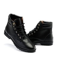 Wholesale Wholesale Boots For Men - Wholesale- Hot Sale New Spring Autumn Men Fashion Boots Punk Lace Up Ankle Boots Casual Lace Up High Top Shoes Solid Martin Boots For Male