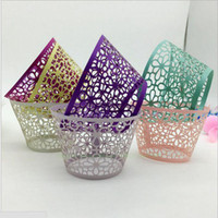 Wholesale Butterfly Baking Cups - wedding Favors Butterfly Vine Filigree Laser Cut Lace Cup Cake Wrapper Cupcake Wrappers For Wedding Birthday Party Decoration 12pcs Per lot