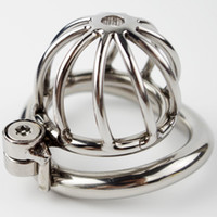 Wholesale Small Male Chastiy - Steel Chastity Cock Cage 2017 New Locked On Sex Toys for Men Short Small Streamline Base Ring Penis Restraint Device
