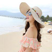 Wholesale Large Brim Sun Beach Hats - 2018 Fashion Women's Ladies Foldable Wide Large Brim Floppy Summer Sun Beach Hat Straw Cap With 5 Colors