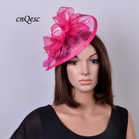 Wholesale Hot Pink Wedding Hat - Hot pink Sinamay fascinator hat for Wedding kentucky derby ascot races.