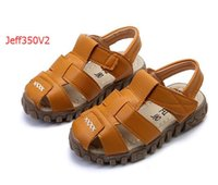 Wholesale Summer Buckle - Jeff Store leather sandals boys and girls 2017 100% soft leather in summer
