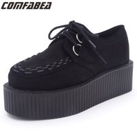 Wholesale Goth Wedge Shoes - 2017 New Spring Autumn black platform creeper shoes Harajuku goth punk creepers woman flats wedges shoes casual flock girls shoes