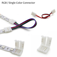 Gros-1 pcs 2Pin 4pin 8mm 10mm RVB Couleur unique sans fil wire Angle Connecteur câble Adaptateur pour 3528 5050 LED Light Strip flexible