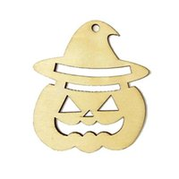 Wholesale Pumpkin Ornaments - Wooden Tags Pumpkin Face Shape Party Easter Halloween Decoration Halloween Laser Engraving Wood Hanger Gift Tags Ornament