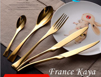 Wholesale Wholesale Wedding Dinnerware - Top Quality Gold And Black Stainless Steel Cutlery Set Knifes Forks Tea Spoon Tablespoons Black Wedding Dinnerware Sets Cutlery