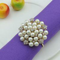 Wholesale Golden Napkins - Wholesale- Free Shipping 12pcs lot Rhinestone pearl napkin buckle imitation pearl napkin rings, diamond golden napkin rings