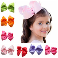 Wholesale Color Barrettes Wholesale - 2017 NEW Fashion Boutique Ribbon Bows For Hair Bows Hairpin Hair accessories Child Hairbows flower hairbands girls cheer bows Free shipping