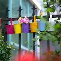 Wholesale Flower Pot Hooks - Hanging Flower Pots Garden Pots Balcony Planters Metal Bucket Flower Holders with Hook Metal Bucket Flower Pot CCA7036 50pcs