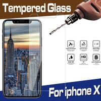 verres trempés blu achat en gros de-Film de protection d'écran en verre trempé pour iPhone XS Max XR X 8 7 6 Plus Samsung Galaxy A10 A20 A30 A40 A60 A70 A90 M10 M20 M40 M50