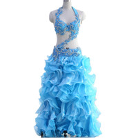 Belly Dancing oriental dance costumes - 2017 New Oriental Belly Dance Costume Professional pieces Set Bra Belt Bubble Skirt Belly Dancing Costume