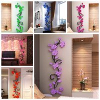 Wholesale Tree Flowers Wall Stickers - 3D Vase Flower Tree DIY Removable Art Vinyl Wall Stickers Decal Mural Home Decor For Home Bedroom Decoration