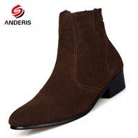 kahverengi kısa çizme toptan satış-Toptan-Boot Erkekler Süet Hombre Boots Düşük Topuk Nubuk Deri Bilek Boots Vintage Casual Kısa Çizme Siyah Kahverengi Man Ayakkabı