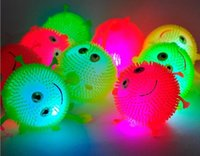 Wholesale Smiling Ball - 4 colors flash LED bouncy balls glowing smile soft rubber ball toy luminous for party supplies jump fluffy ball toys