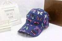 ingrosso cappelli a farfalla-Cappelli hip-hop del progettista della palla del progettista del cappello del berretto da baseball di colore di modo di colore di stile europeo della farfalla all'aperto di modo con la scatola