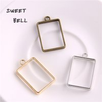 Wholesale Wholesale Silver Pendant Blanks - Min order 30pcs 21*34mm Alloy jewelry setting accessories rectangle hollow glue blank pendant tray bezel charms DIY Handmade Craft D6093-1