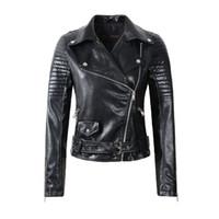 Wholesale Ladies Leather Jackets Sale - 2016 New Women Faux Soft Leather Jackets Lady Black Motorcycle PU Autumn Winter Biker Zipper Coat Outerwear Belt Hot Sale