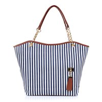 Atacado-Woman Bags 2016 Handbag Moda Azul Casual Vertical Striped Double Handle Tassel Grande Canvas Shoulder Bag