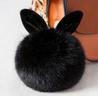 Wholesale Men Gold Ear Rings - Newest Fluffy Bunny Toys Ear Keychain Rabbit Key Chain Fur Woman Bag Charms Keyring Pom Pom Car Pendant Key Ring Holder Jewelry