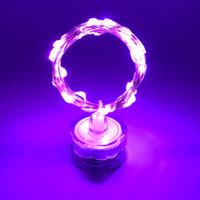 bougies violettes achat en gros de-Décoration de Noël LED Lumière Aquarium Décoration Rotary Bougie Plongée Lumière de fil de cuivre CR2032 Batterie Étanche IP68 lumière pourpre
