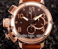 Wholesale rose big size resale online - High Quality Big Size Limited Edition Italy U51 U Bronze Brown Dial Rose Gold Quartz Chronograph Mens Watch Leather Strap Watches