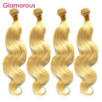 Wholesale Weave Hair 613 Color - Glamorous Blonde Hair Weaves Popular #613 Bleach Body Wave Hair Extensions 4Pcs lot Peruvian Indian Malaysian Brazilian Straight Hair Weaves