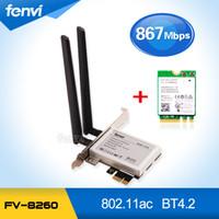 wifi pci e toptan satış-Toptan-Fenvi PCi Express 8260AC Çift Bant 8260NGW 867 Mbps Kablosuz PCI-E Masaüstü WiFi Adaptörü ile Bluetooth BT 4.2 Wlan Ağ