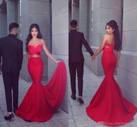 Wholesale Dresse Jackets - 2017 New Sexy Red Mermaid Prom Dresses Long Sweetheart Pleats Front Open Cocktail Dresse Evening Wear Sweep Train Cutaway Sides Party Gowns