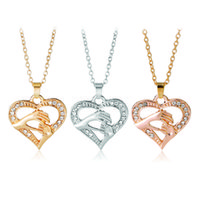 Wholesale gold mom necklace - Mothers Day Gift Mother Baby Hand Holding Love Heart Pendant Necklace Rose Gold Silver Mom Jewelry mothers day gift