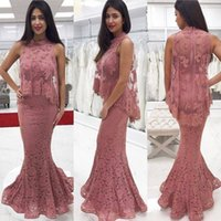 Wholesale Cape Lace High Collar - Designed Lace Appliqued Mermaid Mother of Bride Groom Dresses Formal Evening Dresses High Neck with Sheer Capes 2018