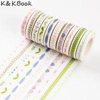 Wholesale Diy Adornment Sticker - Wholesale- 2016 K&KBOOK 10 PCS lot PVC sticker DIY diary planner scrapbooks tape hand zhang tape border adornment pure