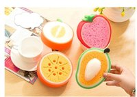 Sponge sponge dishcloth - 2 Fruits Shape Thickening Kichen Cleaning Sponge Dishes Cleaning Mat Bowl Washing Dishcloth Tableware Cleaner