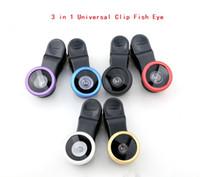 Wholesale cheap camera lens for sale - 3 in Universal Clip Fish Eye Wide Angle Macro Phone Fisheye glass camera Lens For iPhone Samsung Cheap Price ZJ0089