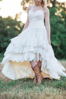 Wholesale modern hi low wedding dresses resale online - Lace High Low Country Wedding Dresses Plus Size with Tiered Skirt and Lace Up Back Bohemia Bridal Gowns Handmade