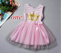 Wholesale Toddler Birthday Outfits Girls - Girls Birthday Dress First Two Birthday Princess Children Clothes Gold Crown Letter Baby Girls Tutu Dress with Bow Birthday Toddler Outfit