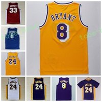 Wholesale School Shirt Men - Wholesale 24 Kobe Bryant Jersey 8 Throwback High School Lower Merion 33 Kobe Bryant Retro Shirt Uniform Yellow Purple White Black Blue Red