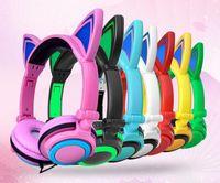 Wholesale Pink Laptops For Kids - Product name: Hot New Girl Cartoon Cat Ear Lighting Headset Headphone Foldable Music Earphone for Computer Laptop MP3 MP4 Gift for Kids Girl