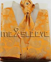 ingrosso legame ascot arancione-nuovo arriva il gilet paisley arancione di trasporto libero (gilet + cravatta ascot + gemelli + fazzoletto)