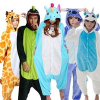 Wholesale Animal Costume Pajamas For Adults - Kigurumi Panda Stitch Unicorn Unisex Flannel Hoodie Pajamas Cosplay Animal Onesies Sleepwear For Adults Women Men Child Pijamas