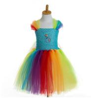Wholesale Cartoons Pink Colour - Girl Dress Colorful Girl Tutu Dress Cartoon Cartoon Style Mickey Cosplay Dance Dress 11 p l