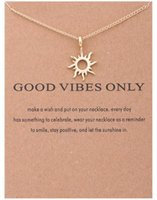 Wholesale images abstract - 30PCS Abstract Sun Chain Necklace Wish Card Gold Silver Good Vibe God Sun Image Pendant Chain Necklace Jewelry Gift