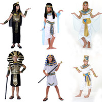eski kostümler toptan satış-Cadılar bayramı Kostümleri Oğlan Kız Antik Mısır Mısır Firavunu Kleopatra Prens Prenses Kostüm Çocuk Çocuklar Için Cosplay Giyim
