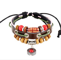 Wholesale Love Wooden Beads - Men Exotic Style Wooden Beads Bracelets Multi Row Leather Wrap Bracelets Boys Charm Bracelet 10PCS Adjustable Size