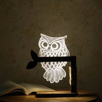 Wholesale Cute Black Lamps - Owl shape 3D lamp, student gifts, bedroom lamp, student room night light, home decorative lighting, cute gifts, desk lamp.