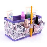 Wholesale Makeup Organiser Box - Wholesale- 2017 Luxury Brands Makeup Cosmetic bag Storage Box makeup bags Bright Organiser Foldable Stationary Container travel Maquiagem